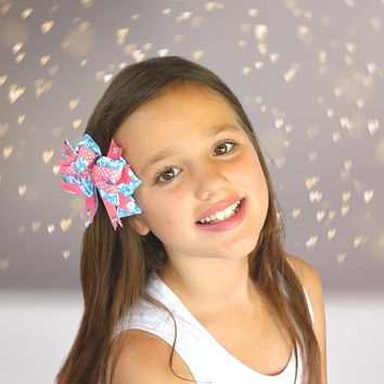 Girls Boutique Hair Bow With Sparkly Bling Stones
