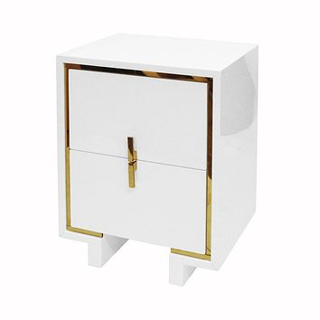 Bruna White Lacquer & Brass Side Table