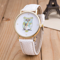 Owl Print PU Strap Watch