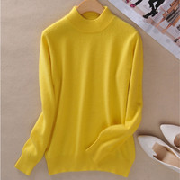 Fall winter clothes New female half high round neck Cashmere Blending Sweaters Slim hedging Sweater knit  bottoming Wool Sweater