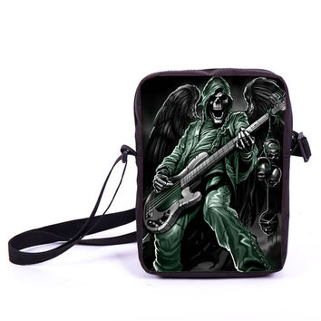 Street Rock Skull Messenger Bag Punk Men Women Handbags Children School Bags Boys Gilrs Shoulder Bag For Snack Kids Cross Bags
