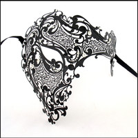 Scary Silver Gold Black Horror Metal Venetian Masquerade Mask RhineStone Red Half Face Party Cosplay Halloween Skull Masks MG005