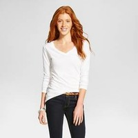 Women's Long Sleeve V-Neck Tee - Mossimo Supply Co.™ (Juniors')