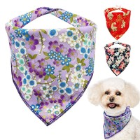 Soft Cotton Dog Bandana Collar Adjustable Puppy Cat Collars Flower Neck Scarf Washable Pets Tie Neckerchief For Small Dogs Cats