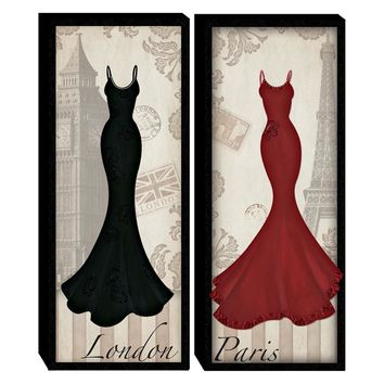 London Paris Dresses Wood Wall Art (Set of 2) (2065) - Illuminada