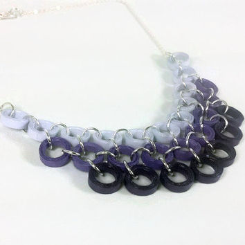 Purple Necklace Chunky Layered Necklace - purple bib necklace, purple ombre necklace, purple statement necklace, paper quilling necklace