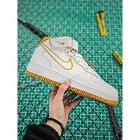 Nike Air Force 1 Leather Mid Af1 Aq8650-101 White Yellow Fashion Shoes
