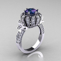 DASHING 1.62CT PURPLE ROUND STUD 925 STERLING SILVER ENGAGEMENT AND WEDDING RING