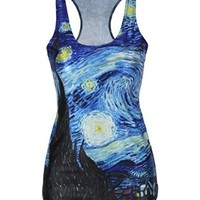 Women's Summer Deep Blue Galaxy 3D Digital Printed Sleeveless T Shirt Vest Tank Tops