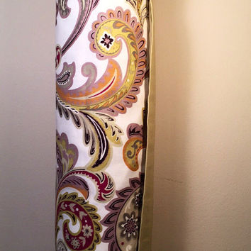 Handmade Yoga Mat Bag, Tote, Mat Carrier - Multi Color Paisley with Cream Lining, Round Base, with Shoulder Strap and Drawstring