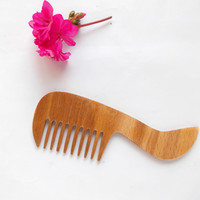 Wooden Hair Comb Natural wood Hair Accessory Wide Tooth Comb Eco Friendly Hair Care Handmade Comb Head Scalp Massage Brush spa Gift for Her
