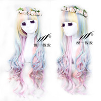 New Lolita Harajuku Rainbow Colors Curly Wavy Long Hair Anime Cosplay Full Wig