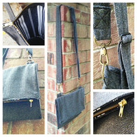 Vegan Foldover Crossbody Ipad Purse in Charcoal Herringbone Tweed with Gold Fleck