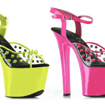 "7"" Heel Neon Platform Blacklight Reactive Spikes"