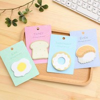 1pack/lot Lovely Kawaii Breakfast  Egg bread Sushi design convenient Memo pad Sticky Note gift prize office school supplies