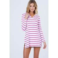Nancy Hooded Cover Up - White & Raspberry Pink Stripe Print