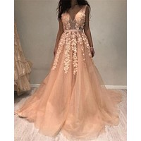 Champagne V Neck Long Prom Dresses Applique Tulle Open Back Evening Dress