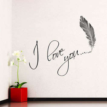 Wall Decal Quotes I Love You Heart Romantic Abstract Murals Valentine's Day Design Vinyl Decals Bedroom Living Room Playroom Home Decor 3956