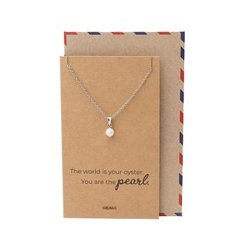 Rilla Pearl Pendant Necklace, Mother's Day Gifts with Inspirational Greeting Card