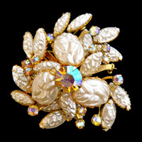 Molded Lava White Glass Brooch ABs Vintage Cluster Stunning