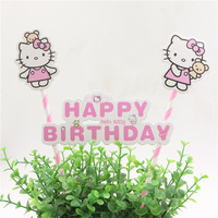 Kids Favors Cartoon Baby Shower Party Hello Kitty Cake Flags Toppers Happy Birthday Baking Picks Decoration Supplies 1set\lot