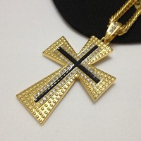Stylish Shiny Gift New Arrival Jewelry Hip-hop Accessory Cross Rack Diamonds Pendant Necklace [6542684163]