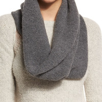 Arly Cashmere-Blend Infinity Scarf, Charcoal, Size: ONE SIZE, grey - Elie Tahari