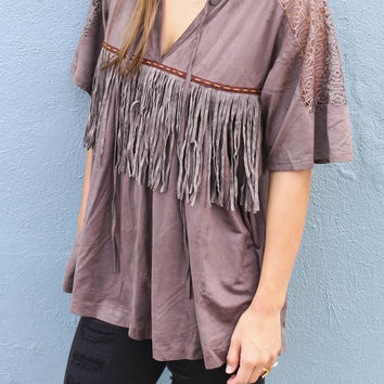 Kalahari Desert Ash Suede Oversized Fringe Top With Lace Shoulders