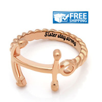 """Sister Gift - Anchor Purity Ring Engraved on Inside with """"Sister Stay Strong"""", Sizes 6 to 9"""