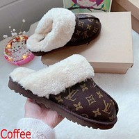 LV Louis Vuitton UGG letter print plush slippers toe boots Shoes Coffee