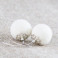 White Felt Winter Earrings Beadwork Elegant Chunky Felted Earrings Winter Wedding