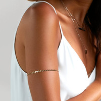 Gold Armlet, Arm Band, Boho Jewelry in 14kt Gold Filled, Sterling Silver, Gold Coin Tattoo, Gold Tattoo