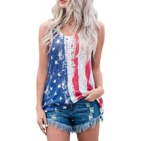 Women's T-Shirt Causal Sleeveless Summer T-Shirt USA Flag Printed Top Slim Women Tops Tee Female Clothing Macchar Cosplay Catalogue