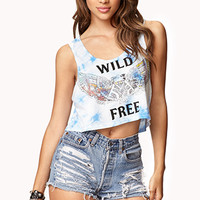 FOREVER 21 Wild Free Cropped High-Low Tank Blue/Black