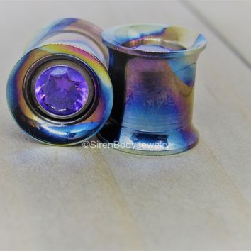 Titanium gem tunnel eyelets internally threaded hypoallergenic plugs removable gemstone inserts pair 0g up to 1""