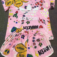 Cute Adidas Flowers Print T-Shirt Shorts Two-pieces Set