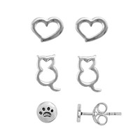 Itsy Bitsy Sterling Silver Heart, Cat & Paw Print Stud Earring Set