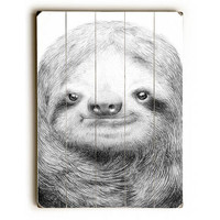 Sloth by Artist Eric Fan Wood Sign