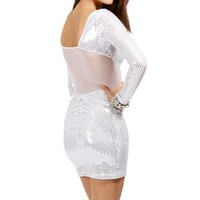 White/ Silver Sequin Party Dress