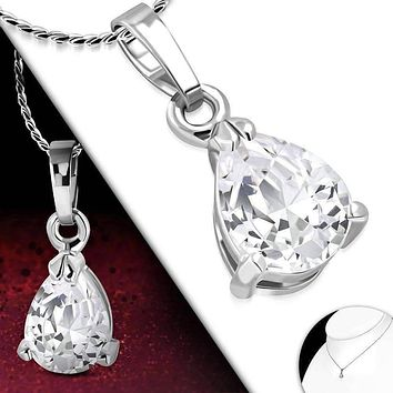 Dainty Droplet Infused Cubic Zirconia Pear Pendant Necklace
