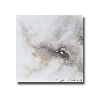 GICLEE PRINT Art Abstract Grey White Painting Diptych Canvas Prints Coastal Modern Neutral Grey Taupe Wall Art-Set of 2