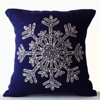 Christmas Pillow Silver Beaded Snowflake On Navy Blue Burlap Cushion Cover