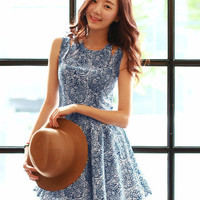 Blue Sleeveless Cut-Out Shoulder Skater Dress