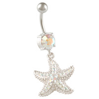Aurora Borealis Crystal Starfish Dangle Belly Button Ring [Gauge: 14G - 1.6mm / Length: 10mm] 316L Surgical Steel & Crystal