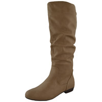 Womens Knee High BootsAlmond ToeSide Zipper Closure Taupe