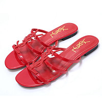 Ysl New Classic Patent Leather Word With Metal Buckle Open Toe Fashion Flat Female Slippers Shoes