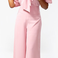 Crepe Bow Blouse with High Waist Wide-leg Slacks