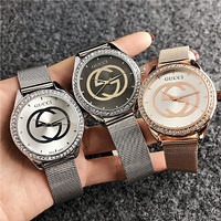 GUCCI Hot Sale Fashion Couple Diamond Casual Quartz Movement Watch Wristwatch