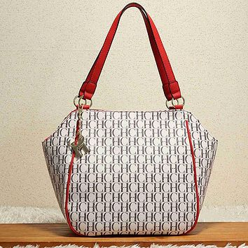 Perfect CH Carolina Herrera Women Print Leather Shoulder Bag Satchel Tote Handbag Crossbody