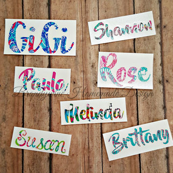 Lilly Pulitzer Inspired Vinyl Name Decal, Car Decal, Name Decal, Yeti Cup Decal, Name Sticker, Personalize Your Stuff, Laptop Name Decal